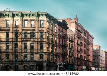 Photo of Buildings and streets of Upper West Site of Manhattan, New York City - stock photo