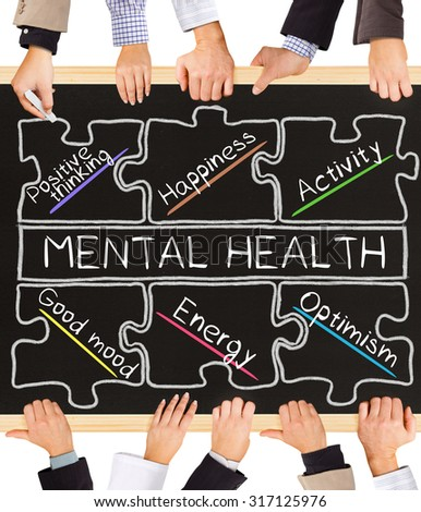 Photo of business hands holding blackboard and writing MENTAL HEALTH diagram - stock photo