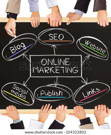 Photo of business hands holding blackboard and writing ONLINE MARKETING concept - stock photo