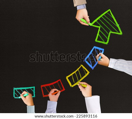 Photo of business hands writing arrow pointing up - stock photo