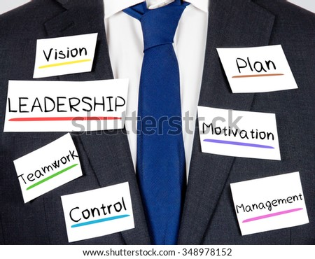 Photo of business suit and tie with LEADERSHIP concept paper cards - stock photo