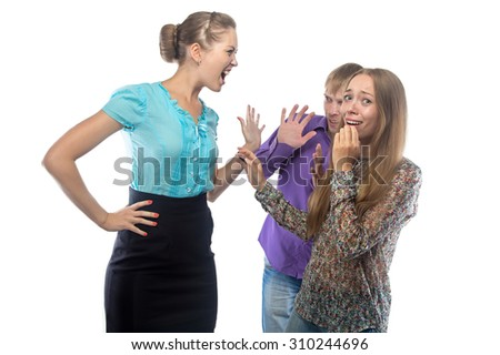 Photo of businesswoman screaming at frightened subordinates on white background