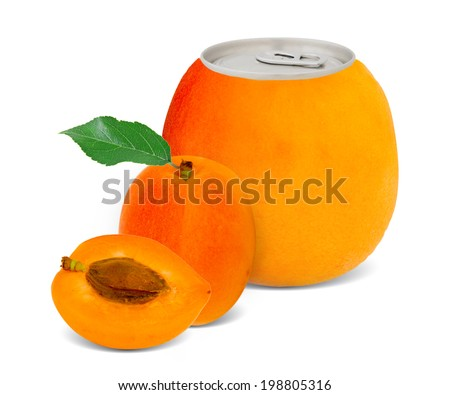 Photo of can with fruit - apricot juice concept