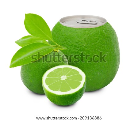 Photo of can with fruit - lime juice concept - stock photo