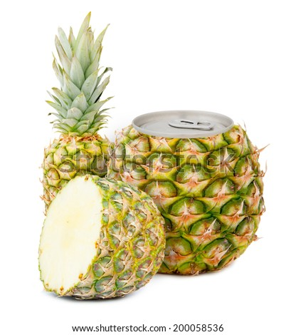 Photo of can with fruit - pineapple juice concept - stock photo