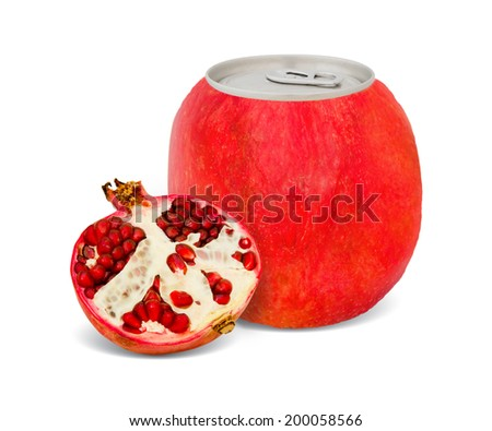 Photo of can with fruit - pomegranate juice concept