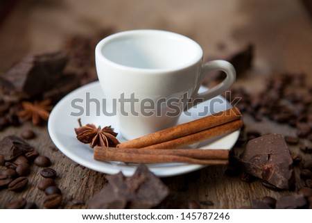 photo of cinnamon sticks, coffee and chocolate