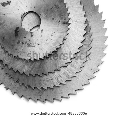 photo of circular saw blades. Isolated on white