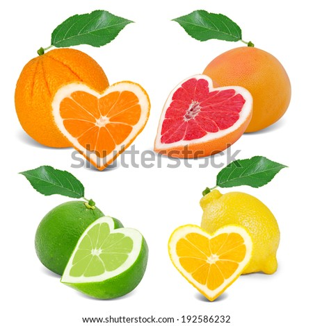 Photo of citrus fruit with slices in a heart shape