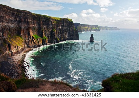 photo of cliffs of moher west coast ireland - stock photo
