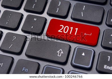 Photo of close up on keyboard pad, for 2011 year conceptual usage. - stock photo