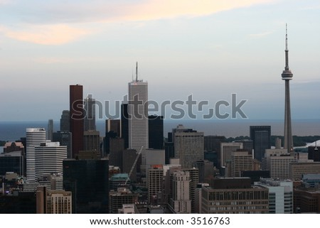 photo of CN-tower in Toronto, canada (sunset panorama) - stock photo