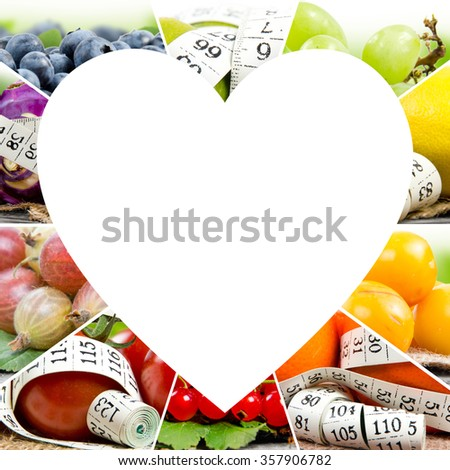 Photo of colorful fruit and vegetable mix with white measuring tape and white heart space; concept of fitness - stock photo