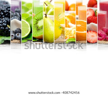 Photo of colorful mix stripes with fruit, slices and drink; healthy food and drink concept; white space for text - stock photo