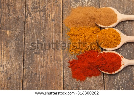 Photo of colorful spices over wooden table - stock photo