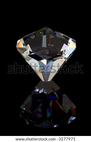 Photo of Diamond reflected on a black background. - stock photo