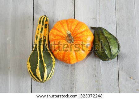 Photo of 3 different pumpkin on wooden background - stock photo