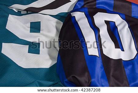 photo of different team uniforms nine ten - stock photo