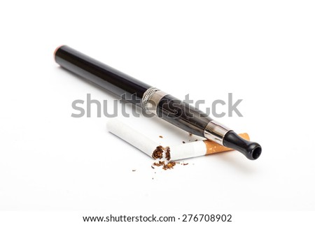 Photo of Electronic Cigarette and cigarette against white background