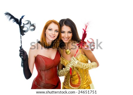 Photo of elegant girls smartly dressed in red and yellow attire - stock photo