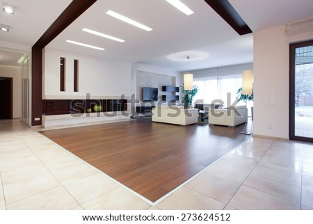 Photo of enormous house with spacious bright living room - stock photo