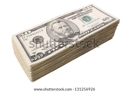 Photo of Fifty dollars big pile - stock photo