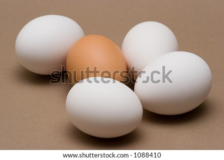 Photo of five white and brown eggs
