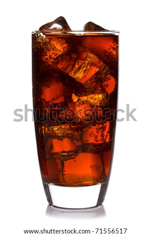 Photo of fizzy Cola in a glass with ice cubes, isolated on a white background. - stock photo