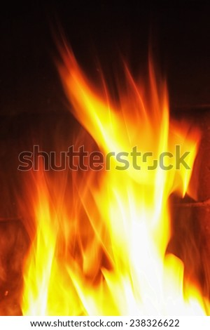 Photo of Flames on fireplace - stock photo