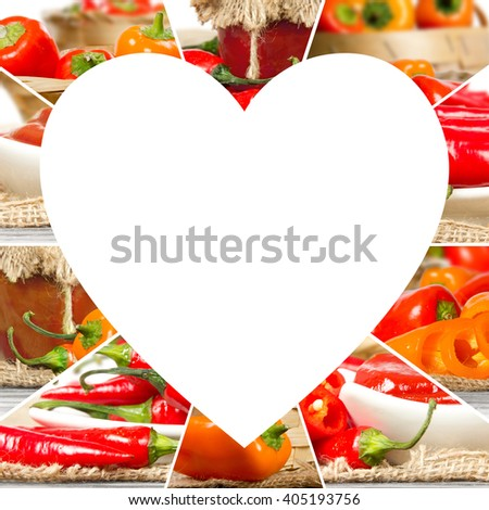 Photo of fresh pepper abstract mix in a heart shape; healthy eating; white space for text - stock photo