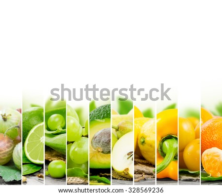 Photo of fruit and vegetable mix with green and yellow colors and white space - stock photo