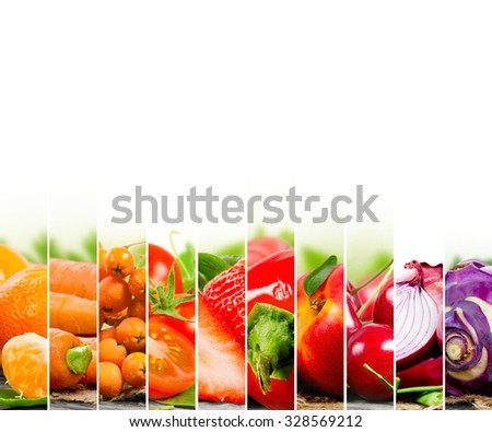 Photo of fruit and vegetable mix with orange and red colors and white space - stock photo
