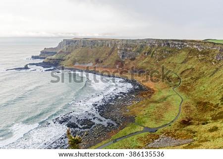 Photo of Giants Causeway coast in Ireland - stock photo