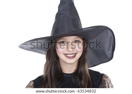 Photo of girl in halloween costume and smilling - stock photo
