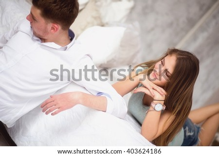 photo of girl in love look at her boyfriend - stock photo