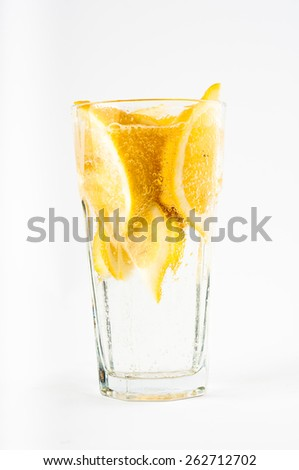 Photo of glass of water with lemon slice