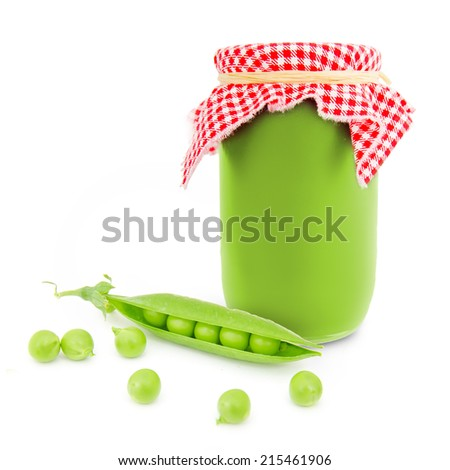 Photo of glass with pea product isolated on white - stock photo