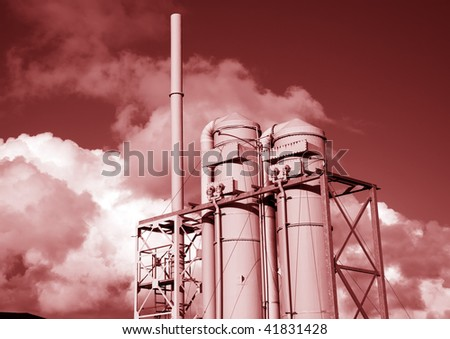 photo of global warming pollution in red tone - stock photo