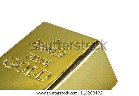 Photo of gold bar isolated on a white background - stock photo