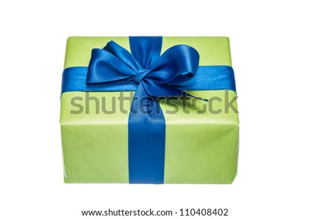 Photo of green gift box with a blue ribbon isolated on white background - stock photo