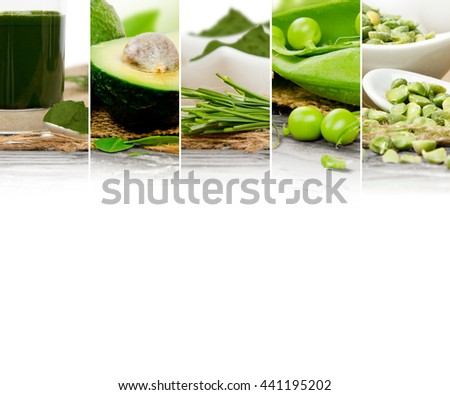 Photo of green vegetable, seeds and superfood abstract mix slices; healthy eating, dieting and detoxication concept; white space for text - stock photo