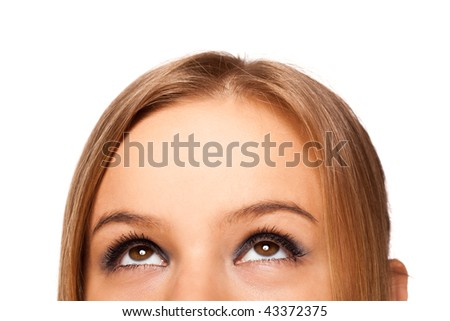 photo of half of a woman's face isolated on white background - stock photo