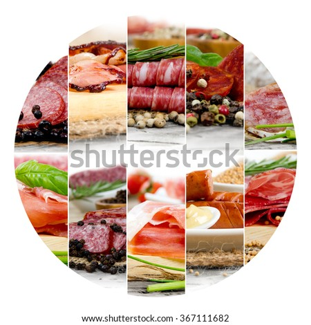 Photo of ham and salami mix with herbs and spice; circle shape - stock photo