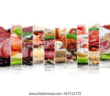 Photo of ham and salami mix with herbs and spice; white space for text - stock photo