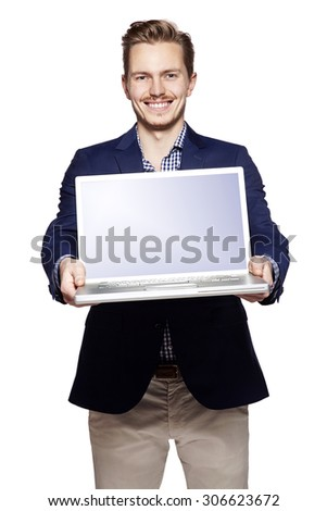 Photo of happy businessman giving his laptop with copy space.