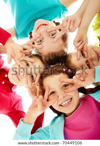 Photo of happy children having a fun - stock photo