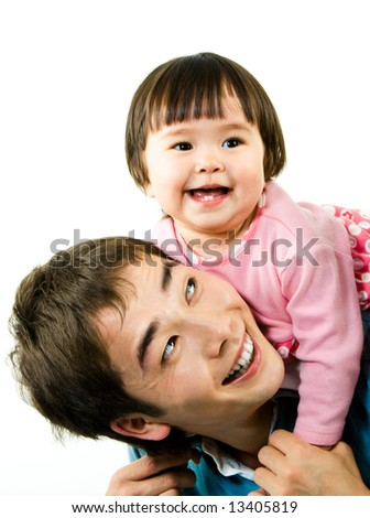 Photo of happy little girl on top of her father while he holding her by hands and laughing - stock photo