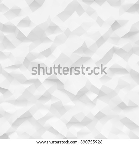 Photo of highly detailed polygon. White geometric rumpled triangular low poly style. Square mockup. 3d render - stock photo