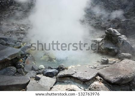 Photo of hot spring in Indonesian vulcano aerea - stock photo