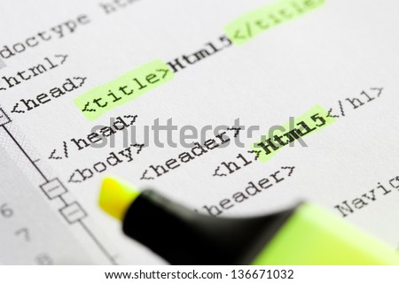Photo Of Html5 Code With Marker. - stock photo